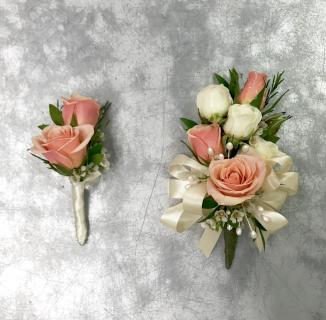 Pinky-Peach Corsage & Boutonniere