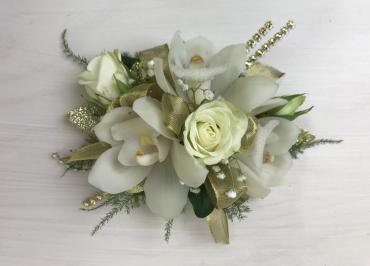 Golden Glam Orchid & Rose Corsage