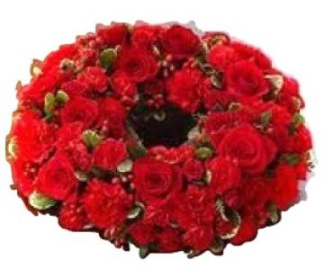 Red Memorial Urn Wreath