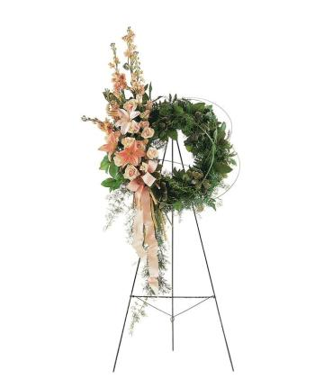 Peach Elegance Wreath Standing Spray