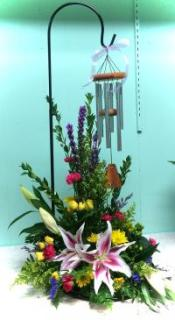 Wind Chime + Stand with Fresh Flowers