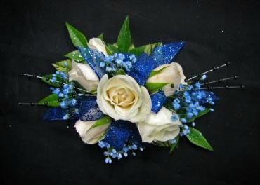 V: White and Blue Wrist Corsage