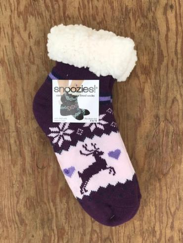 Snoozies ~ Footie Socks: Royal Purple Deer