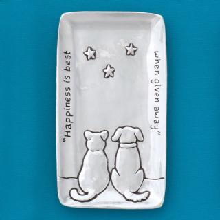 Pewter Tray ~ Cat & Dog