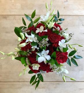 Red Rose & White Orchid Bridal Bouquet