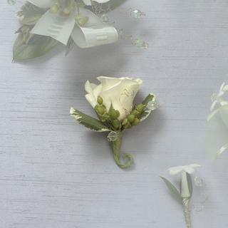 3. White Rose Boutonniere