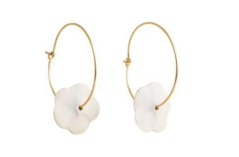 Earrings ~ Flower Hoops in White