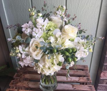 White Gathered Bridal Bouquet