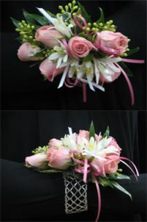 P: Whites and Pinks Wrist Corsage