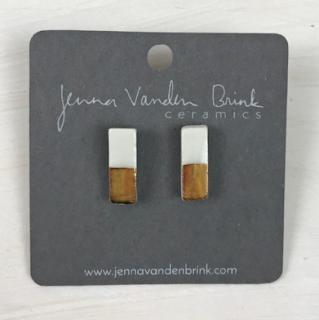 Earrings ~ Porcelain & 22k Gold Bar Studs