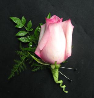 Single Pink Rose Boutonniere