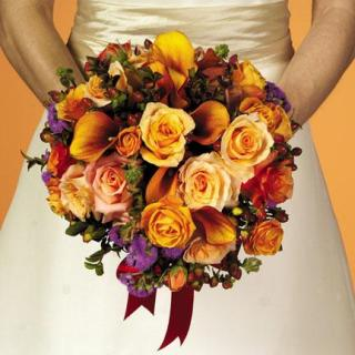 29. Round Orange Calla Lilly and Rose Bouquet