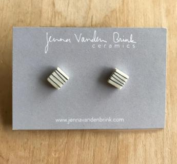 Earrings ~ Porcelain Pinstripe-Square Studs