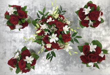 Red Rose & White Orchid Handheld Bouquets