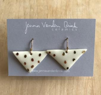 Earrings ~ 22K Gold Flecked Porcelain Triangles