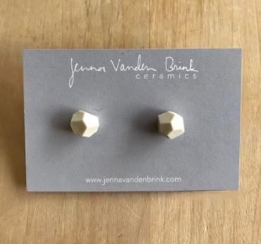 Earrings ~ White Faceted Porcelain Studs