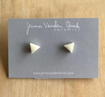 Earrings ~ White Triangle Porcelain Studs