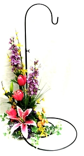 Wind Chime Stand with Silk Flowers