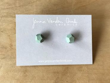 Earrings ~ Mint Faceted Porcelain Studs