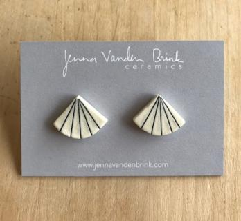 Earrings ~ Porcelain Pinstripe Fan Studs
