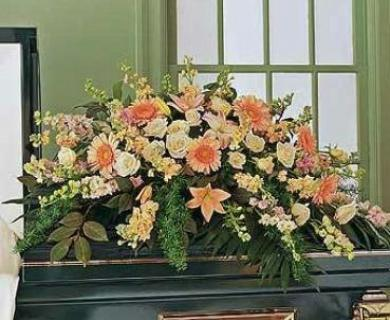 Peach Splendor Casket Spray