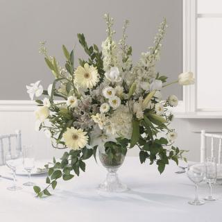 28. Wonderous White Reception Centerpiece