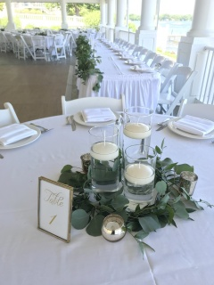 Floating Candles + Eucalyptus Centerpiece