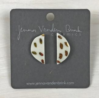 Earrings ~ 22K Gold Flecked Porcelain Half Moon Studs