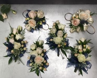 Blush & Navy Bridal Party Corsages
