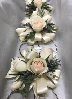 Blush & Navy Corsages