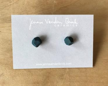 Earrings ~ Teal Faceted Porcelain Studs